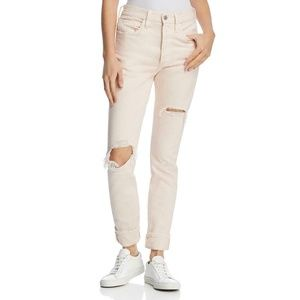 LEVI'S 501 PINK DESTROYED BUTTON FLY SKINNY JEANS